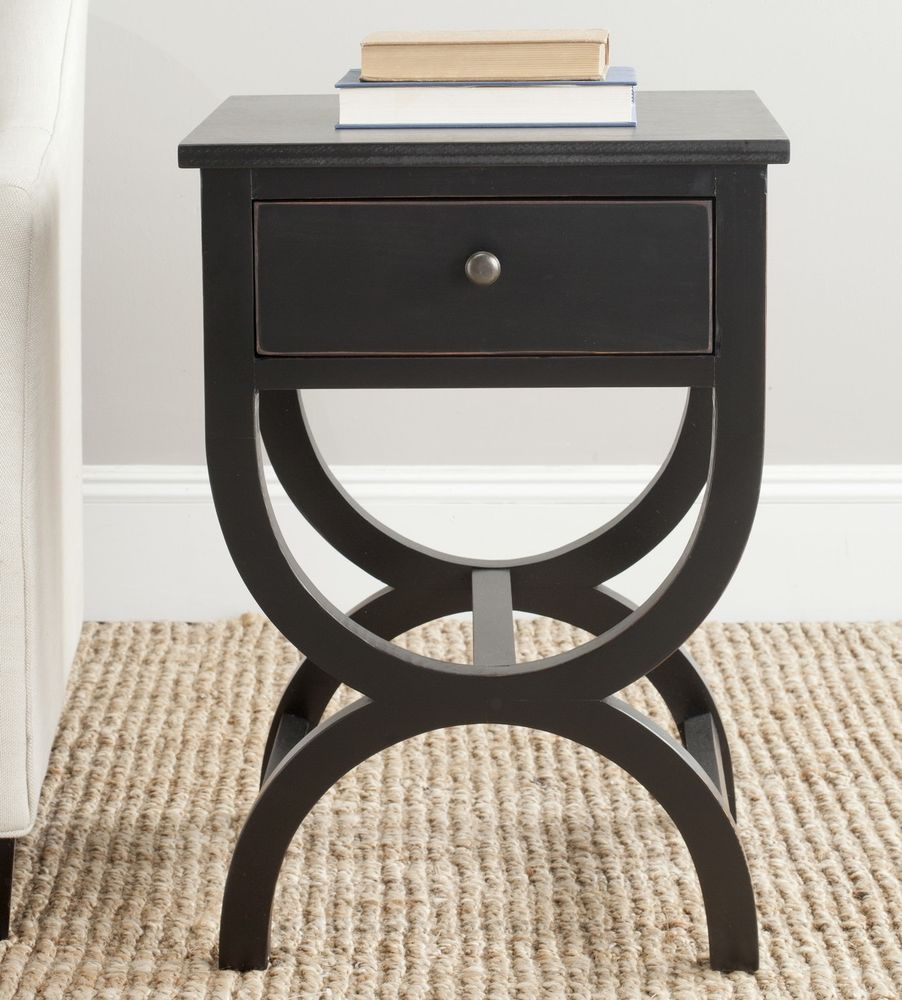 Best Pine Bedside Table Bedroom Wood Black Colour Drawers Store 400 x 300