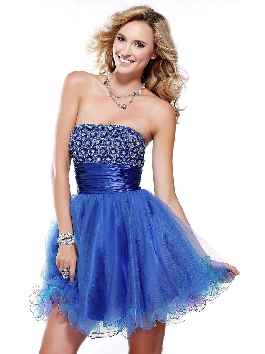 Chic Strapless Short A-Line Dark Royal Blue Satin and Tulle Party Dress