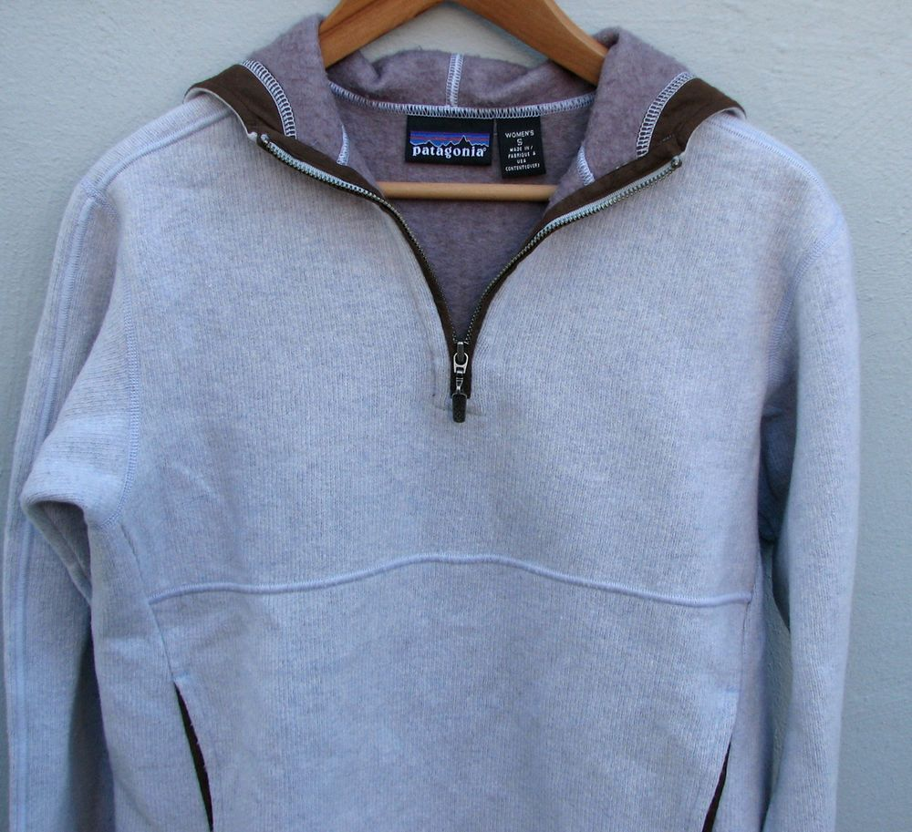 Patagonia Women's Gray Wool-Blend Half-Zip Hoodie Sweater Fleece ...