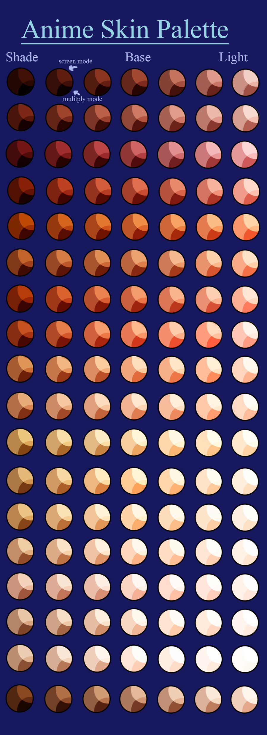 My Anime Skin Palette by TheDevilButterfly.deviantart