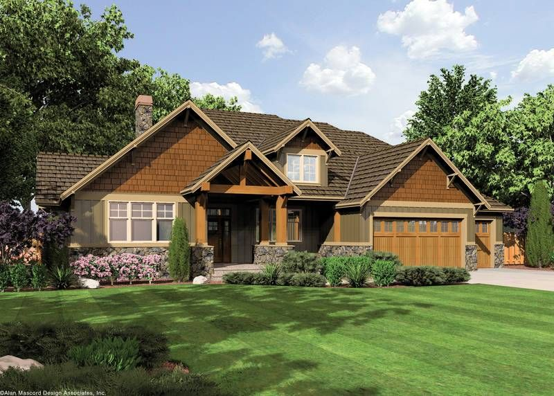 The Ashby Lodge style Craftsman Home Plan Offers Large Master and