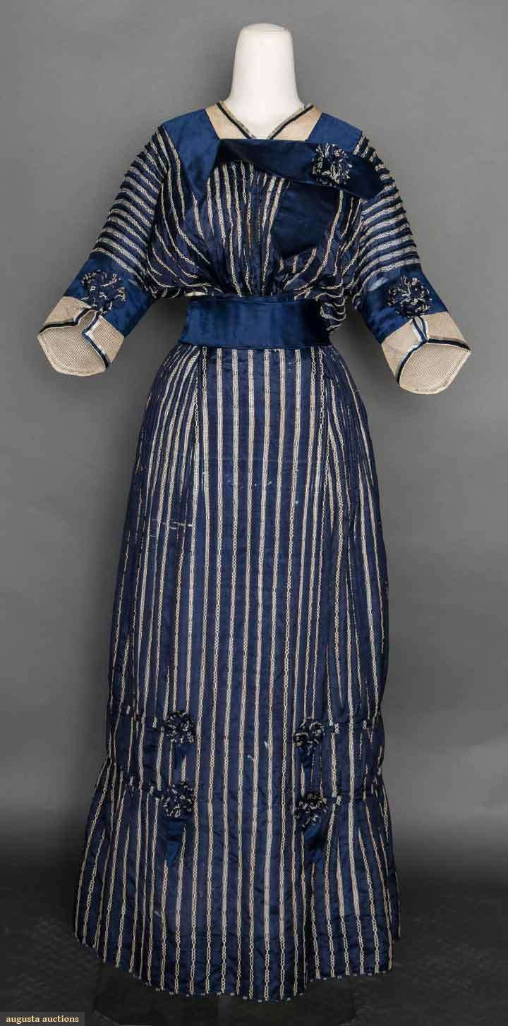 BLUE & WHITE DAY DRESS c. 1912 2-piece, silk w/ woven white pin stripes