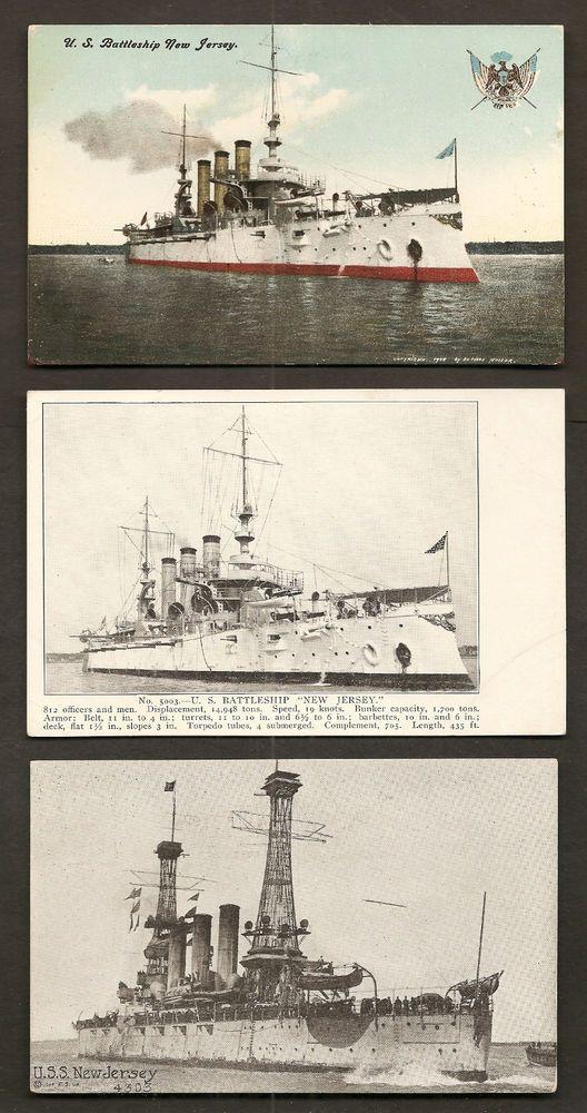 3 Postcards Uss New Jersey Bb 16 U S Navy World War 1