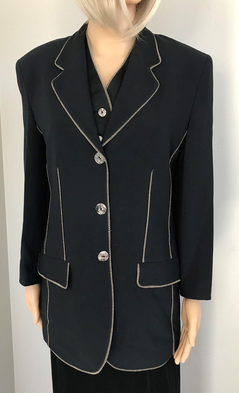 New Ladies Girls Black And White Striped Halloween Waterfall Crop Blazer Jacket