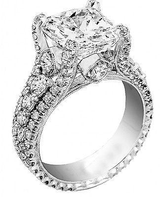 EGL USA Certified 3.46Ct Princess Cut Diamond Engagement Ring + Band In Platinum