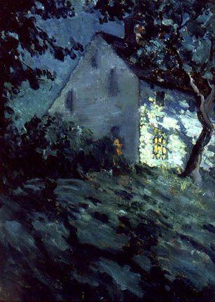 Matilda Browne (1869-1947)  Saltbox by Moonlight