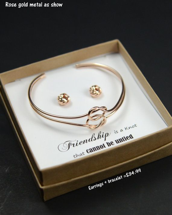 Gold Knot Bracelet Bangle Bridesmaid Gift Jewelry Tie The Earrings