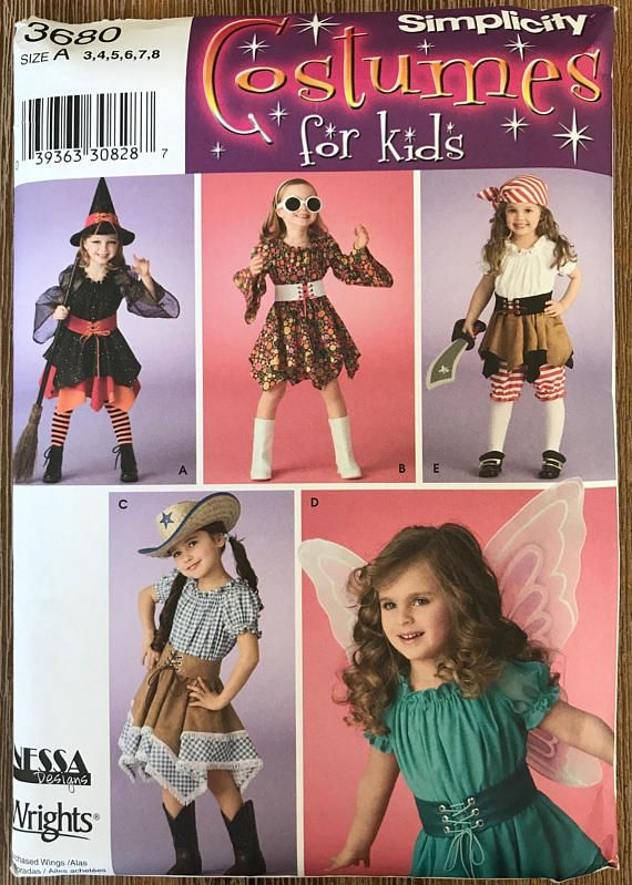 UNCUT Child Toddler Halloween Costume Sewing Pattern Simplicity 3680 ...