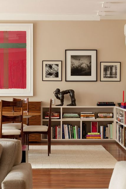 Living Room With Books: Low Bookcase And Paintings #decor #styling