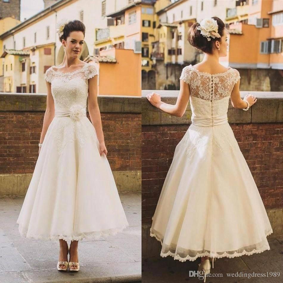 Discount Elegant Beach 20s Style Short Wedding Dresses Sheer ...