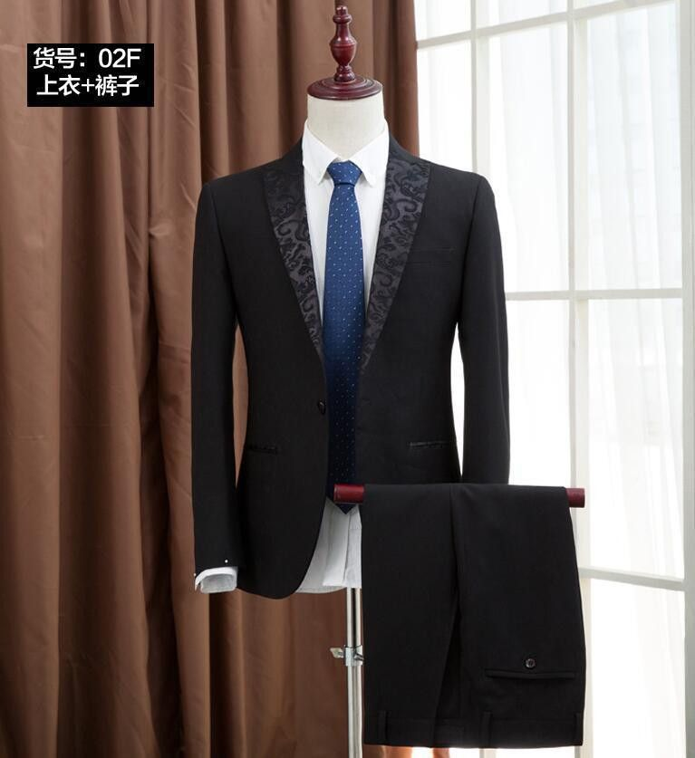 (Jacket +Pants) Men's Slim Groom Wedding Suit Latest Coat Pant Design Tuxedo