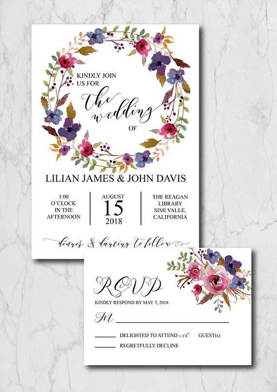 Navy Blue Boho Chic Wedding Invitation Suite Template Rustic