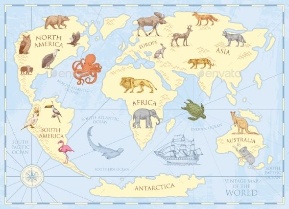 Vintage world map with wild animals and mountains wild animals vintage world map with wild animals and mountains wild animals font logo and fonts gumiabroncs Choice Image