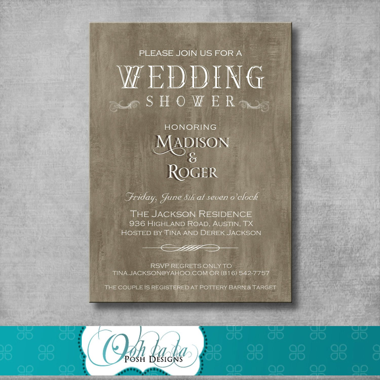 bridal shower invitations registry etiquette%0A Rustic Elegant Wedding Shower Invitation  DIY  Printable          via  Etsy