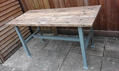 Stunning industrial shabby chic factory workbench dining room kitchen table in Home, Furniture & DIY, Furniture, Tables | eBay