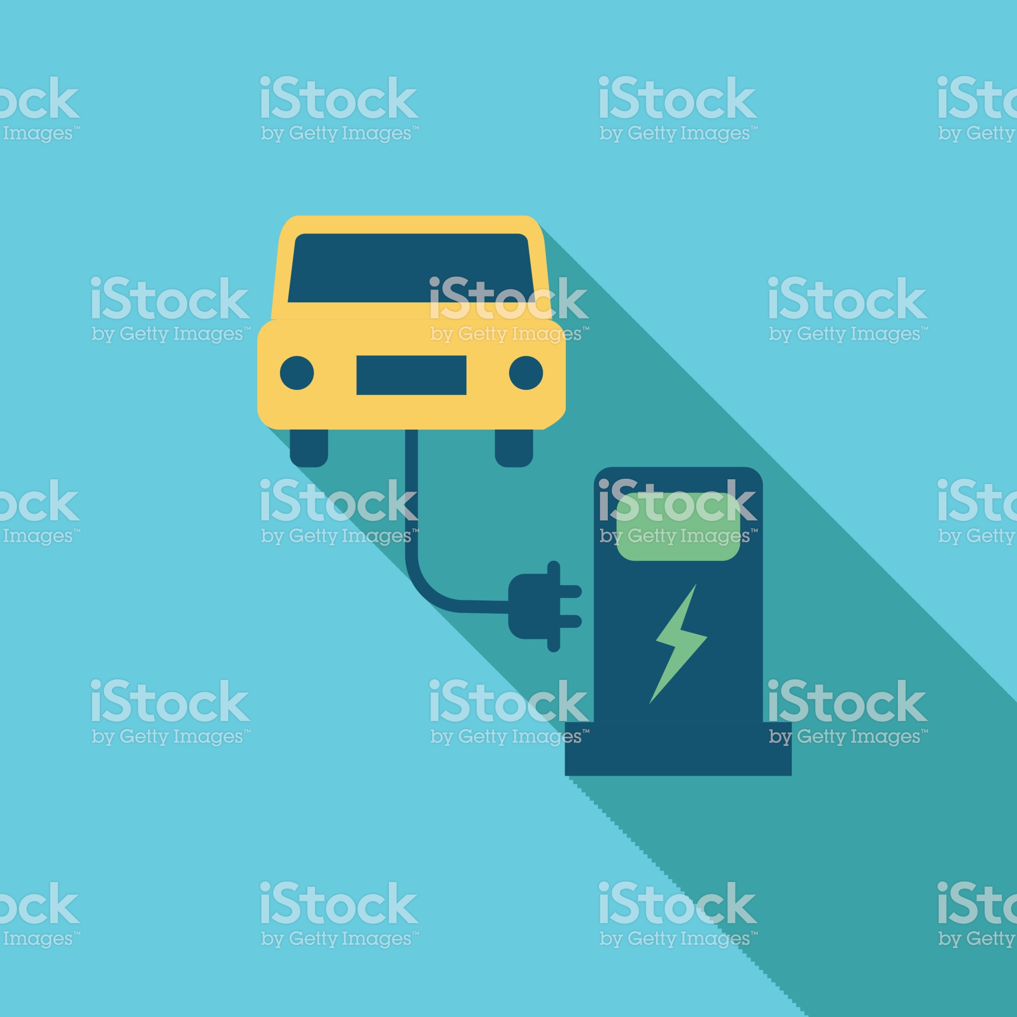 Charging Station Environment Icon In Thin Line Flat Design Style Flat Design Icon Flat Design Icon Design