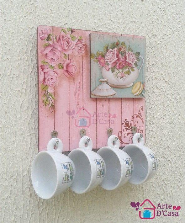 Porta Xícaras Floral Rosa p/4 xícaras no Elo7 | Ar