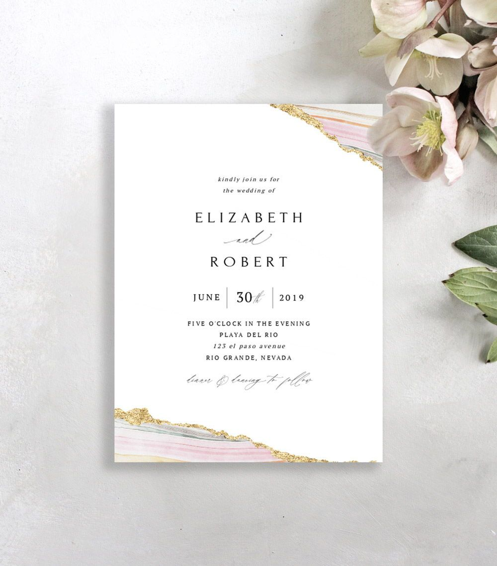 Pink Watercolor Agate Wedding Invitation Templates With Faux Gold Foil Ed Agate Wedding Invitations Printable Wedding Invitations Wedding Invitation Templates