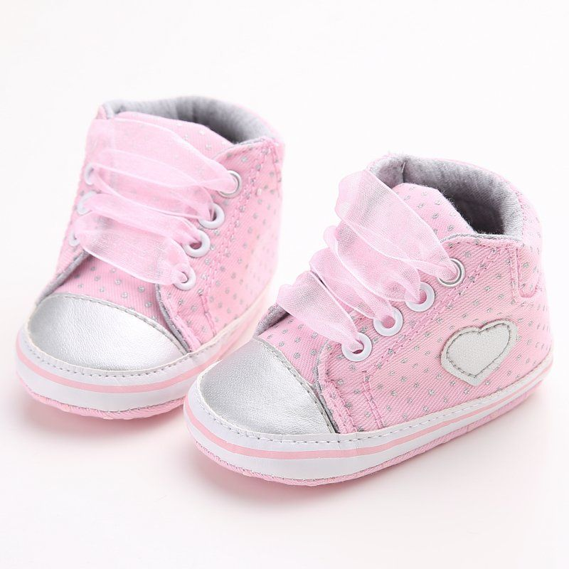 Nice Lovely Baby Sneakers Love Heart Design Newborn Baby Crib Shoes Girls  Toddler Laces Soft Sole Shoes -  8.25 - Buy it Now! 0222d546808a3