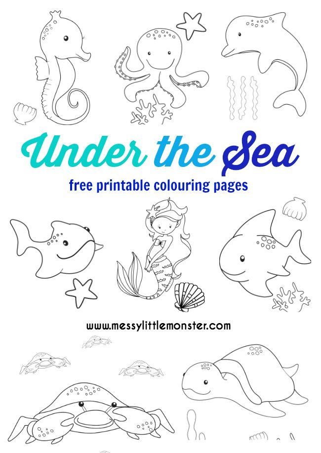 Under the Sea Colouring Pages Free | Free printables, Seahorses and ...