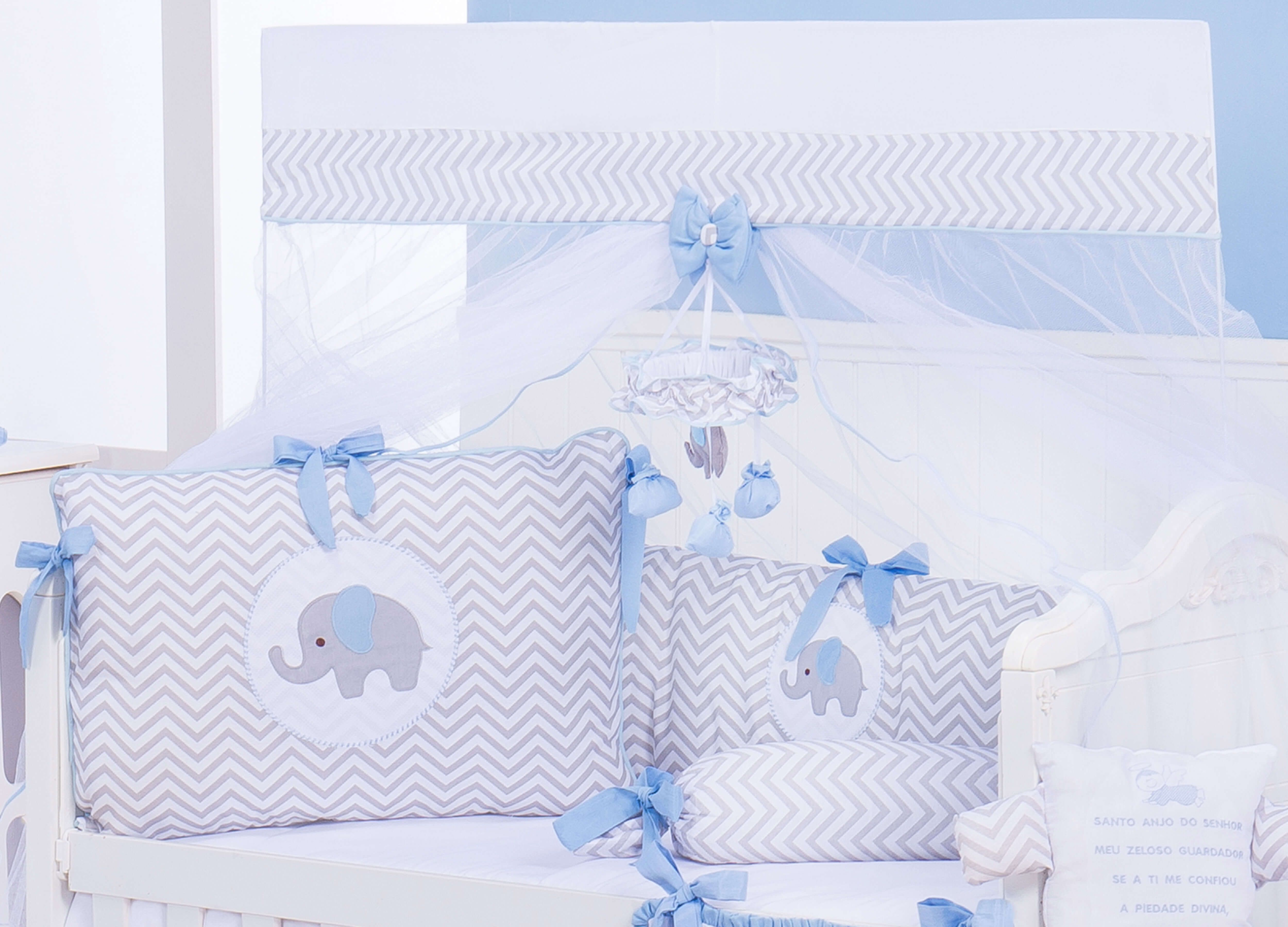 cd66f50485bccb Kit Berço Elefante Chevron Azul | Quarto de bebê cinza | Kit berço ...