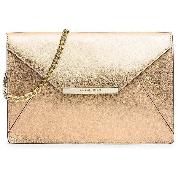 29fc5cedc40106 MICHAEL MICHAEL KORS Lana Metallic Leather Envelope Shoulder Clutch ($228)  ❤ liked on Polyvore