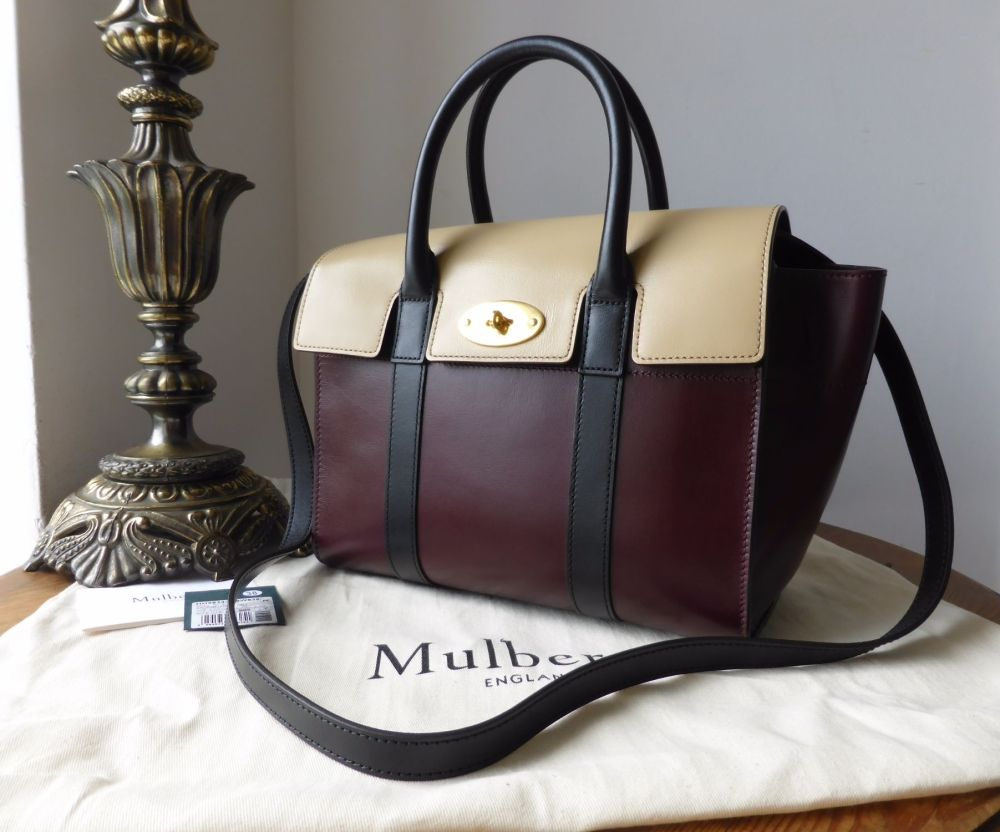 Mulberry Small Bayswater In Oxblood Parchment Black