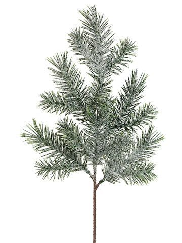 """Artificial Iced Pine Spray in Green 16"""" Tall"""