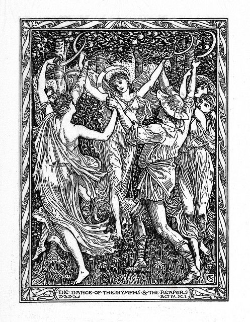 The Dance Of Nymph And Reaper Act 4 Scene 1 Shakespeare S Tempest Limited Edition Illustration By Walter Crane 1893 Art Paraphrase