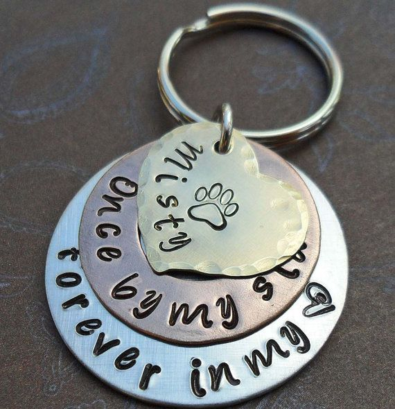BRAND NEW SILVER LOOK KEYCHAIN KEYRING FOREVER IN MY HEART PET DOG CAT MEMORIAL