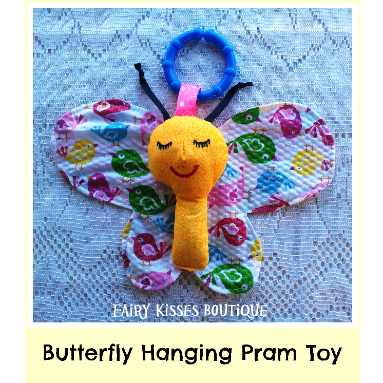 Butterfly Hanging Toy - SOLD OUT  Customs can be made in a variety of colours and prints, please contact us to discuss your requirements: www.facebook.com/FairyKissesB  Email: fairykissesorders@yahoo.com