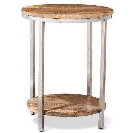 Berwyn Large Round End Table Metal And Wood Brown Threshold Round End Tables End Tables Cheap Living Room Furniture