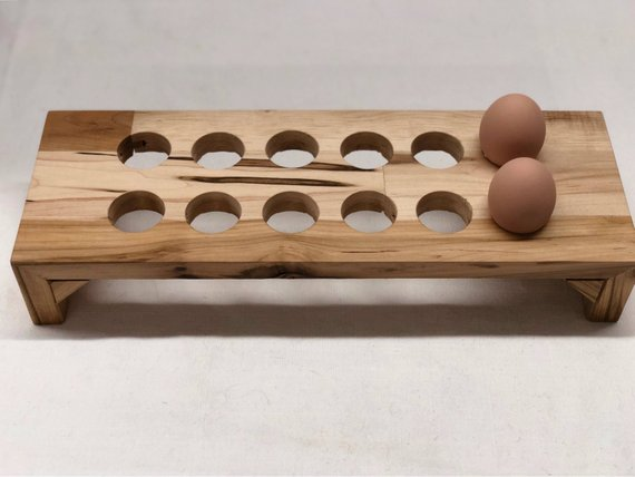 Countertop Egg Holder Salvaged Maple Gift For Her Wood