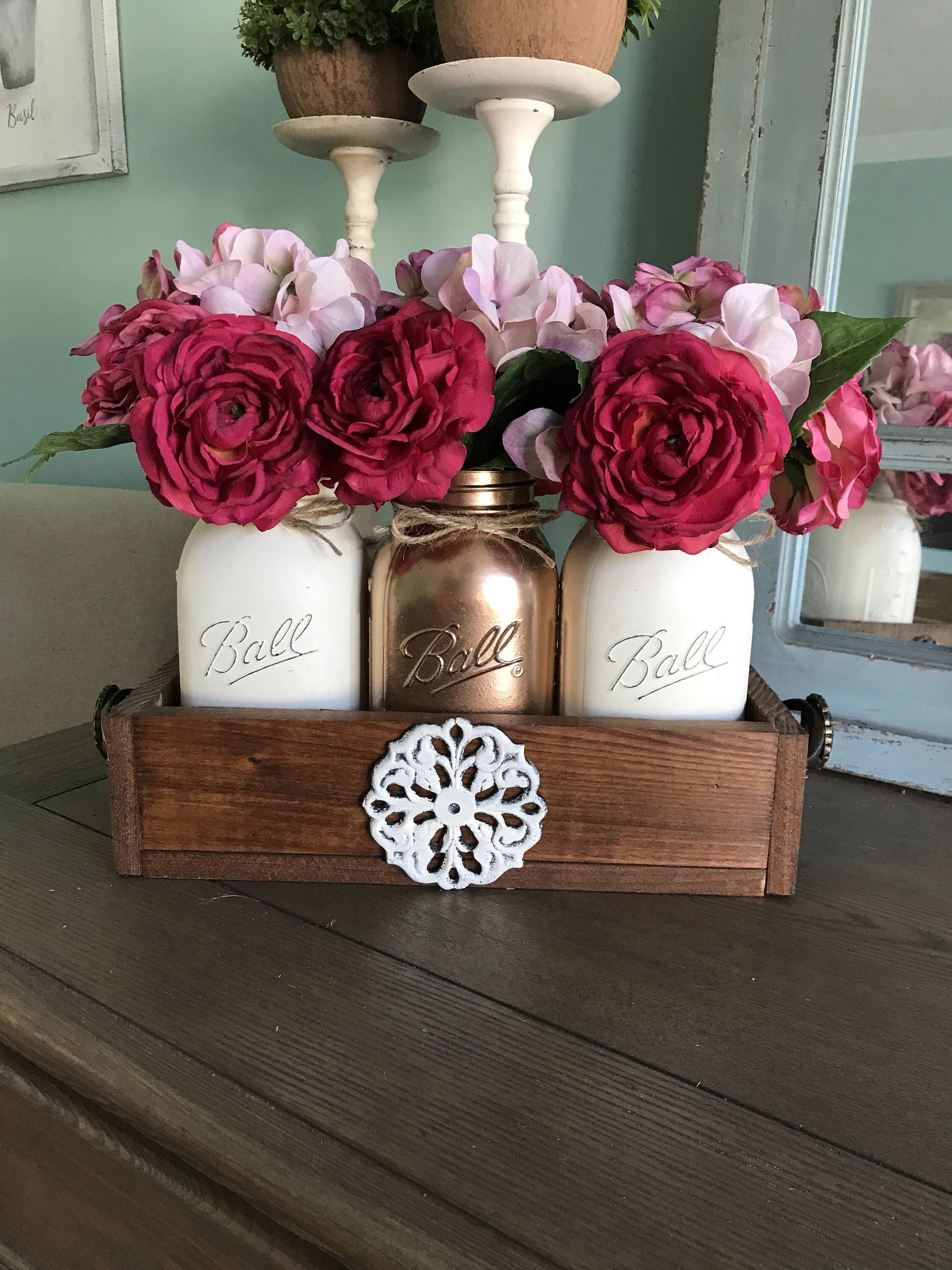 Majestic Fake Flowers A Personal From My Etsy Mason Jar Centerpiece Mason Jar Table Decor Rustic Mason Jar Mason Jar Centerpieces Graduation Party Mason Jar Centerpieces