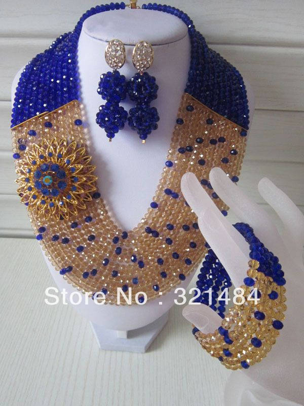 Nigerian Wedding African Beads Jewelry Set Royal Blue and Gold ...