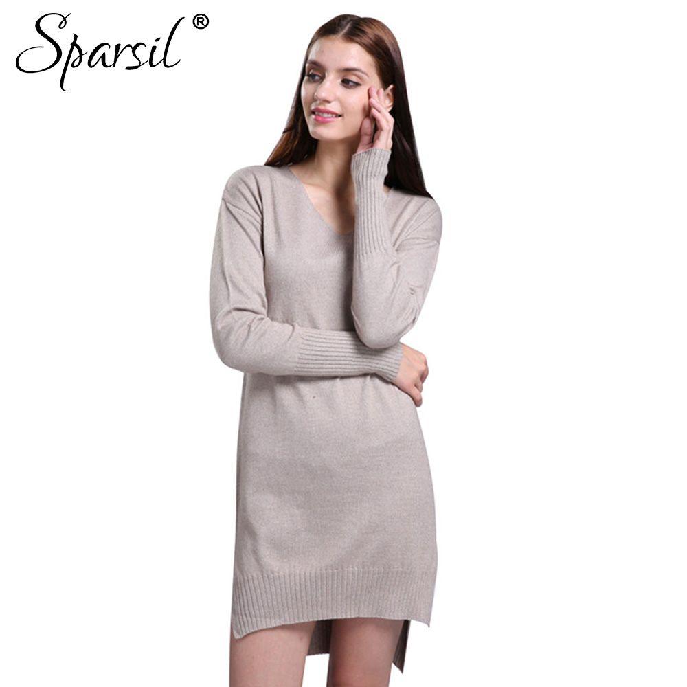 Sparsil womenus autumn simple vneck long sleeve cashmere blend