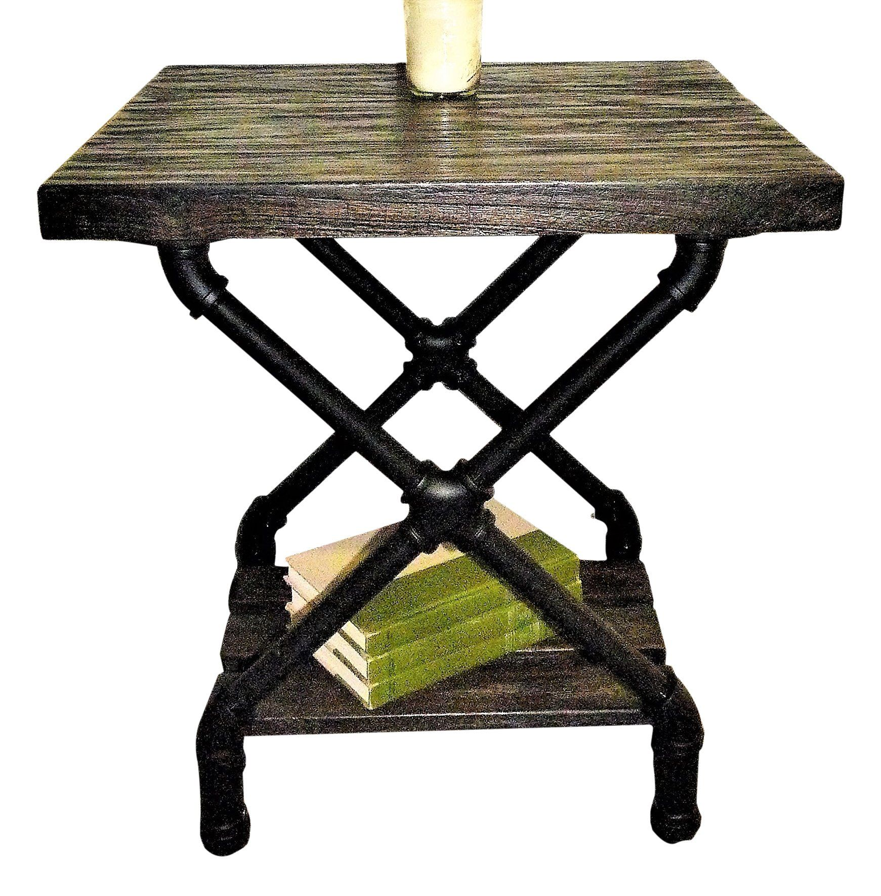 Rustic side end table-bedroom night stand, metal with reclaimed aged ...