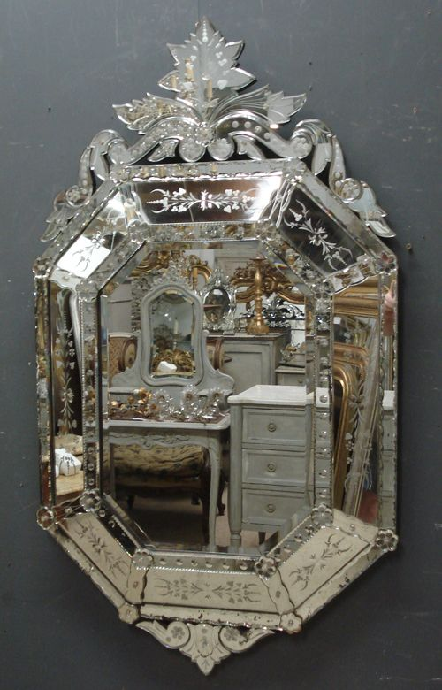 Large Antique Venetian Mirror From Www