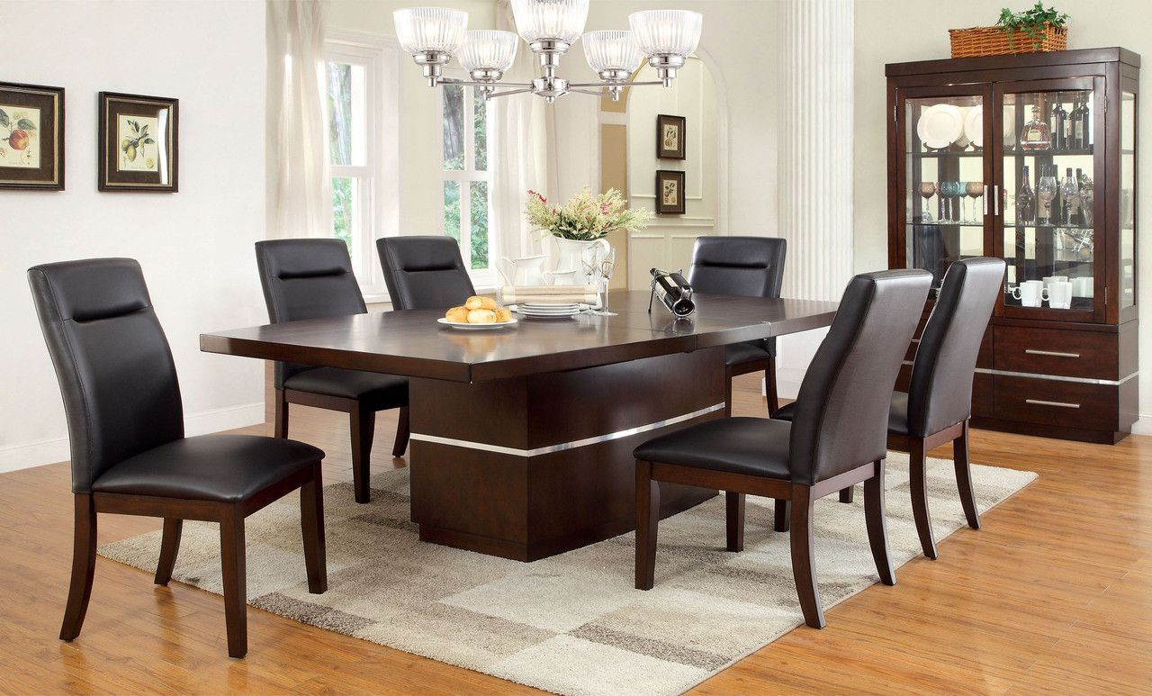 Dining Table With 6 Chairs 7Pcset Lawrence Collection Cm3130T Fair 9 Pcs Dining Room Set Inspiration