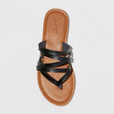 e6a4fc2cf Women's Maritza Multi Strap Toe Wide Width Slide Sandal - Universal Thread  Black 6.5W, Size: 6.5 Wide