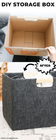 How to transform you old cardboard boxes into super cute felt storage bins.