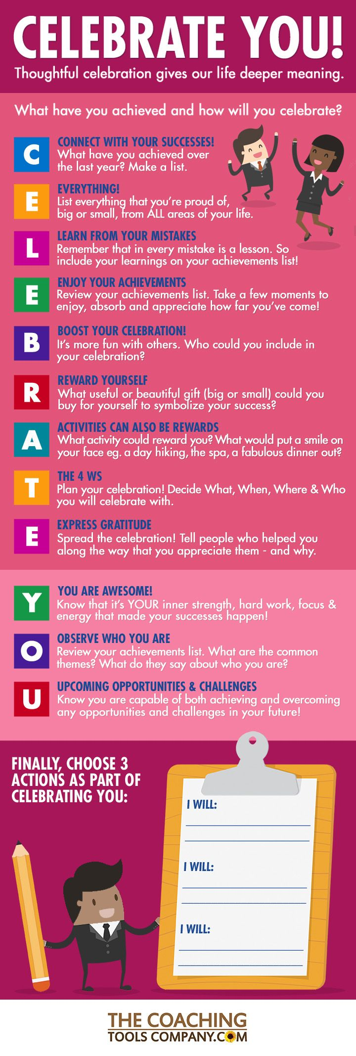 CELEBRATE YOU! Infographic with 12 Tips to Help You & Your Clients Celebrate Your Achievements!   The Launchpad - The Coaching Tools Company Blog #lifecoachingtools