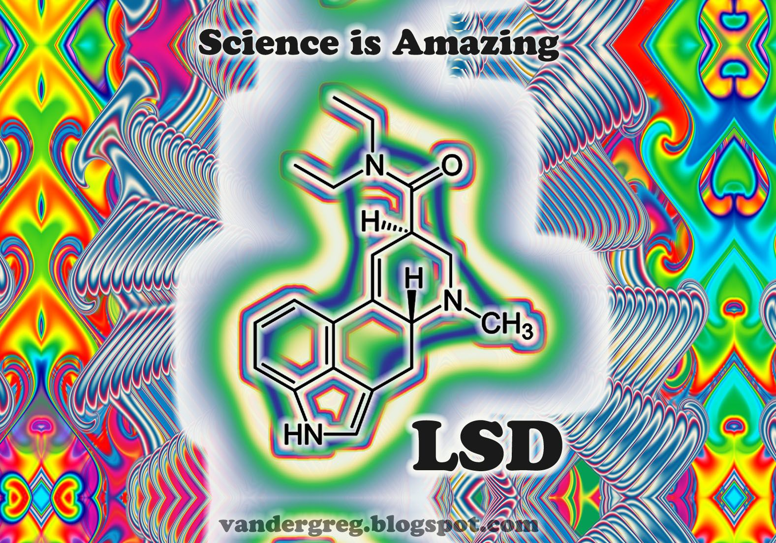 LSD Molecule drawing pirated from Wiki    Psychedelic Art