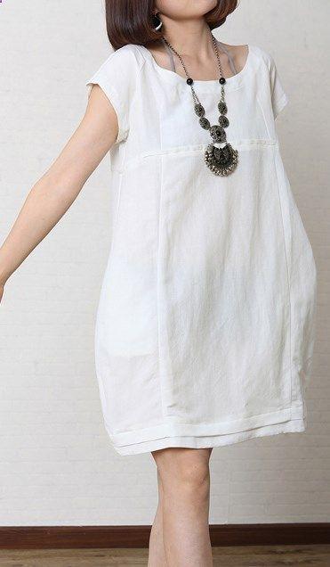 Solid white summer women linen dress plus size cotton ...