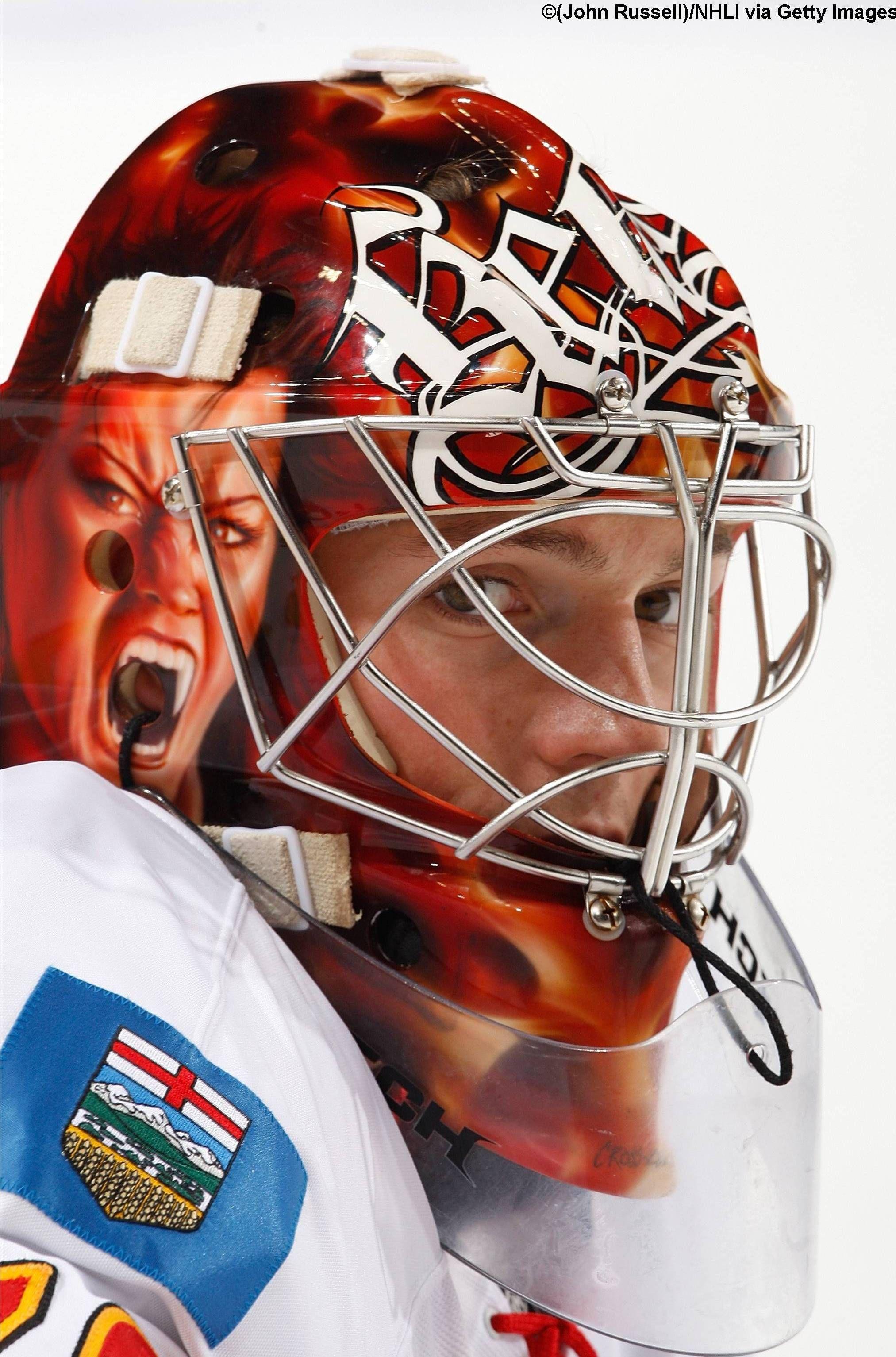 Matt Keetley Calgary Goalie Mask Framed Jersey Goalie