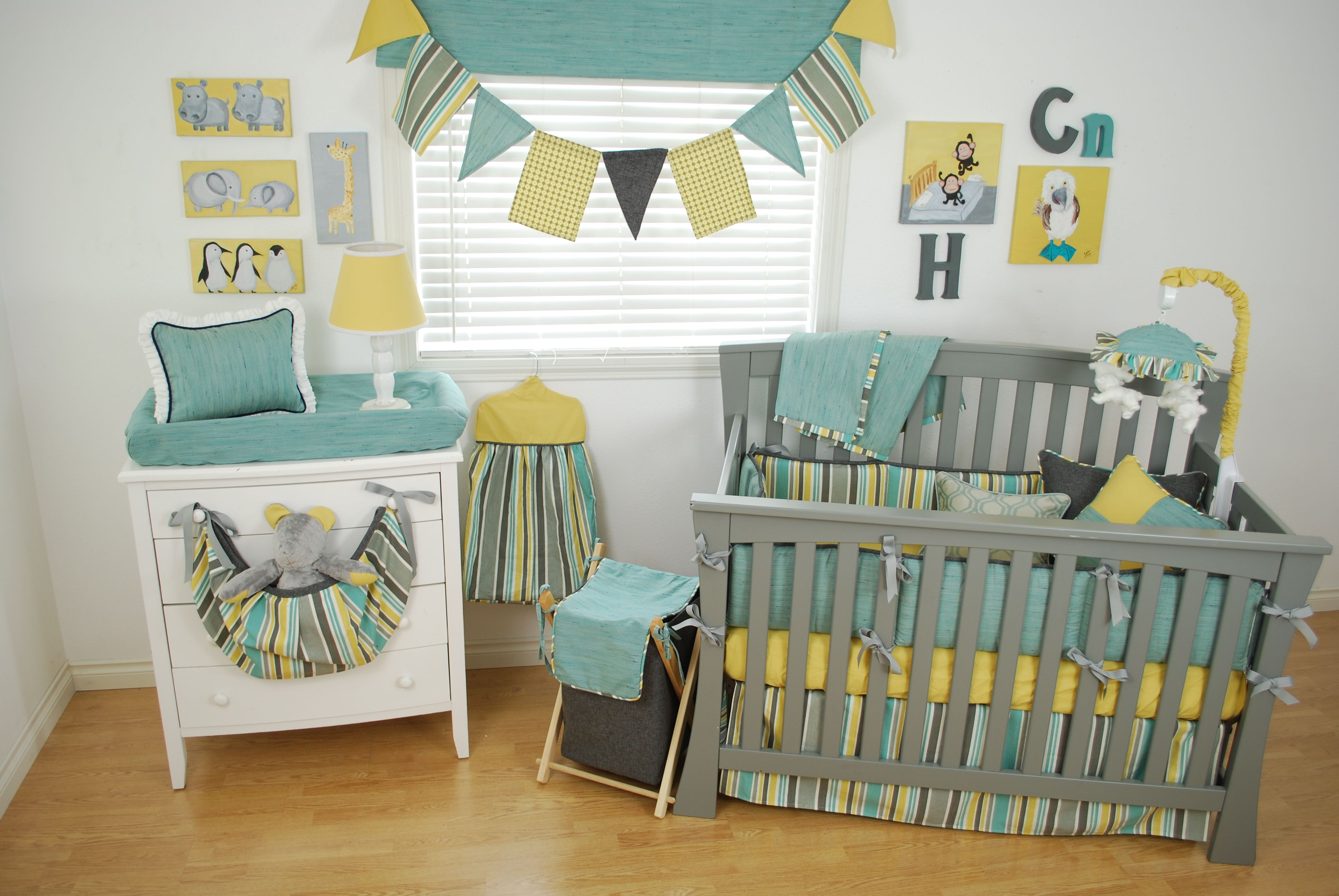 Animal theme nursery with yellow grey and aqua stripe for Yellow nursery fabric