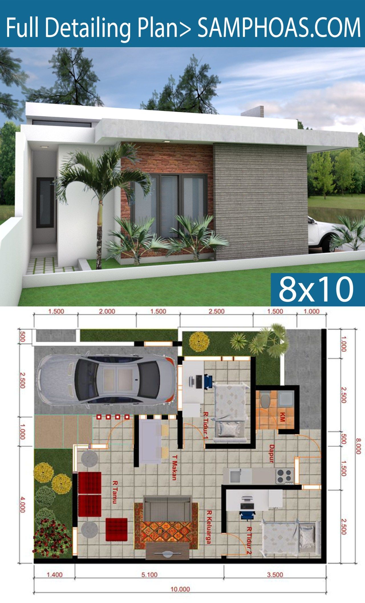 Sketchup House Modeling Idea From Photo 8x10m Samphoas Plan Simple House Design Small House Elevation Design House Plans Mansion