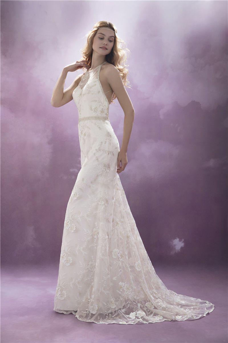 Halter low back wedding dress chic nostalgia collection