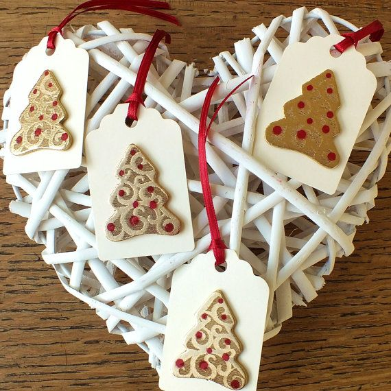 Handmade Christmas Gift Tags Pack of 4 Large 3D by CardsbyGaynor