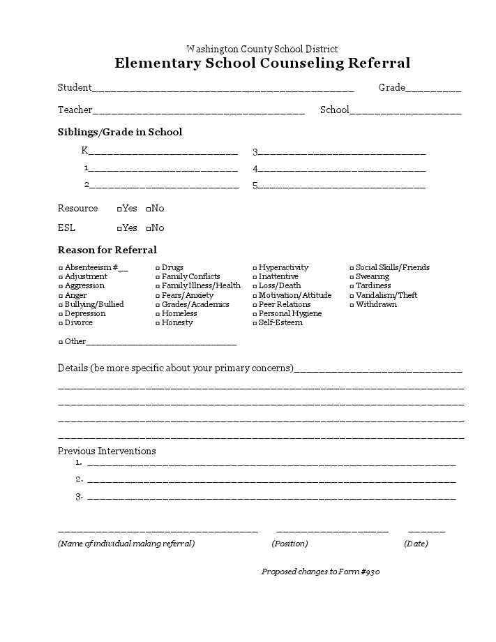 Teacher referral form sc documentation pinterest for Referral document template